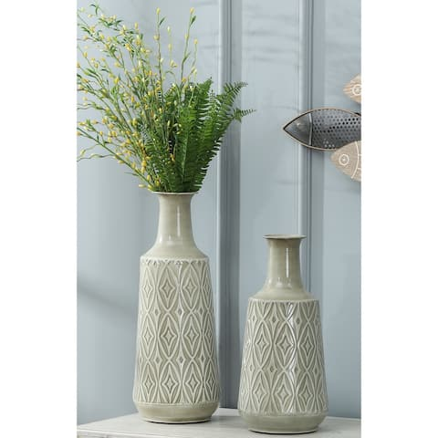 2-Piece Green-Grey Metal Damask Vase Set
