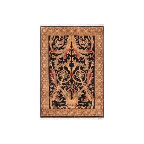 "Pak-Persian Bhati Black Green Wool Rug - 6'3 x 9'0 - 6'3"" x 9'0"""