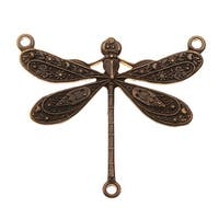 Vintaj Natural Brass, Dragonfly Connector Stamping 23x25mm, 1 Piece