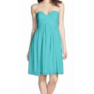 Donna Morgan NEW Blue Size 0 Silk Strapless Empire Waist Dress