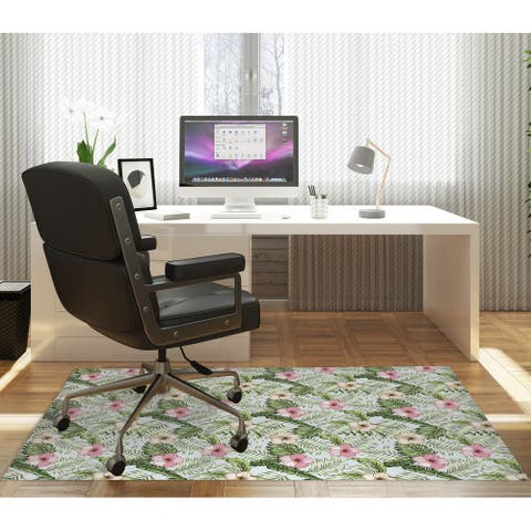 GREEN TROPICAL LEAVES AND PINK HIBISCUS Office Mat By Kavka Designs