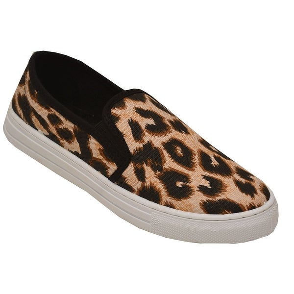 d3e1e869f9bb8f Shop Qupid Adult Tan Brown Leopard Pattern Laceless Fashion Sneakers ...