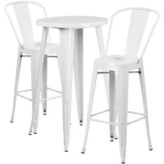 Brimmes 3pcs Round 24'' White Metal Table w/2 Cafe Barstool