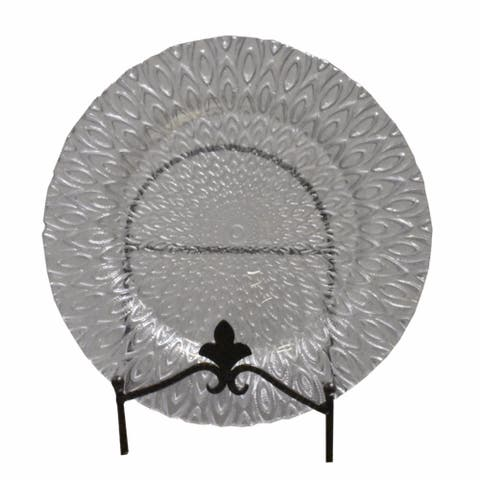 Appealing Glass Charger with Engraved Pattern, Clear and Silver
