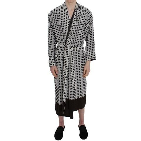 Dolce & Gabbana Dolce & Gabbana Gray Brown Polka Dotted Silk Sleepwear Robe - S