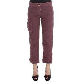Ermanno Scervino Ermanno Scervino Bordeaux Cotton Cropped Cargo Pants - it38-xs