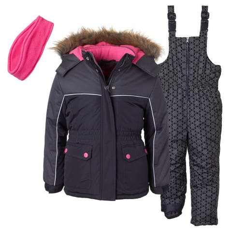Pink Platinum Girls 2T-4T Printed Super Snowsuit - Charcoal