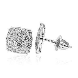 10K White Gold Diamond Earrings Mens 0.3cttw Pave Set Cusihion shaped 9.5mm Wide