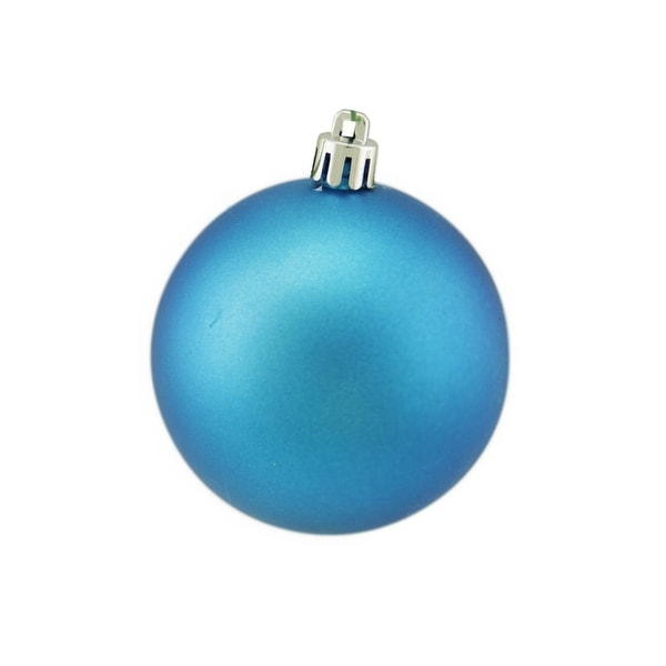 """Matte Turquoise UV Resistant Commercial Drilled Shatterproof Christmas Ball Ornament 2.75"""" (70mm) - BLue"""