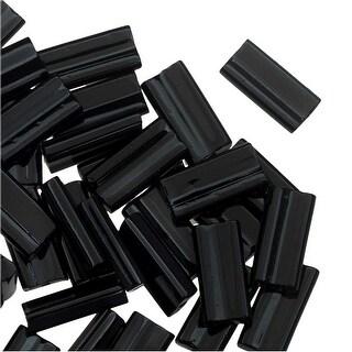Miyuki Glass Beads, Rectangle 4x9mm, 10 Grams, Jet Black