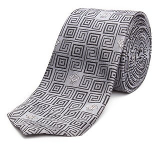 Versace Men's Slim Silk Tie Repeating Medusa Pattern Silver - no size
