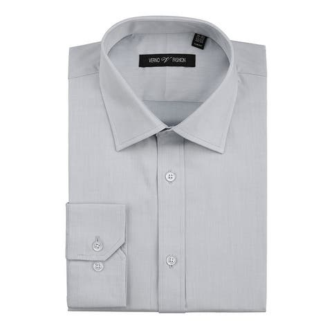 Men's No Iron Slim Fit Performance Solid Spread Collar Dress Shirt