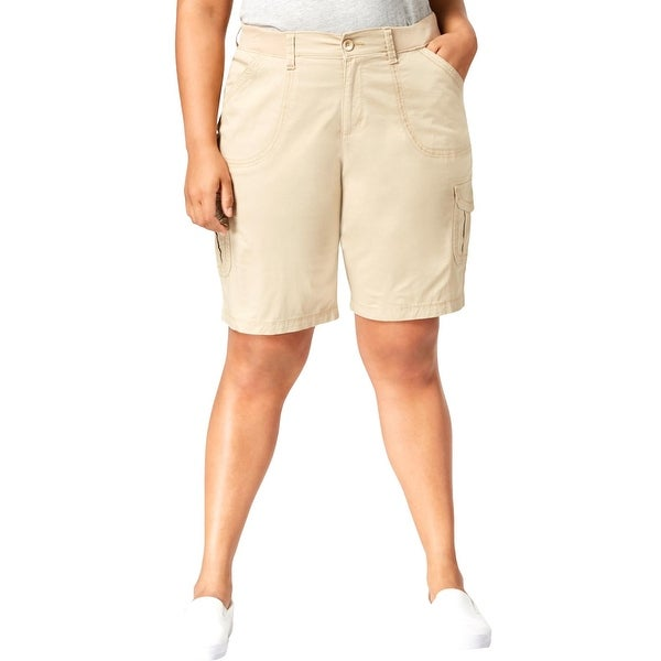 Lee Womens Plus Cargo Shorts Casual Relaxed Fit - Bungalow Khaki