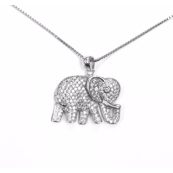 925 Sterling Silver Elephant Necklace with Italian Made Box Chain