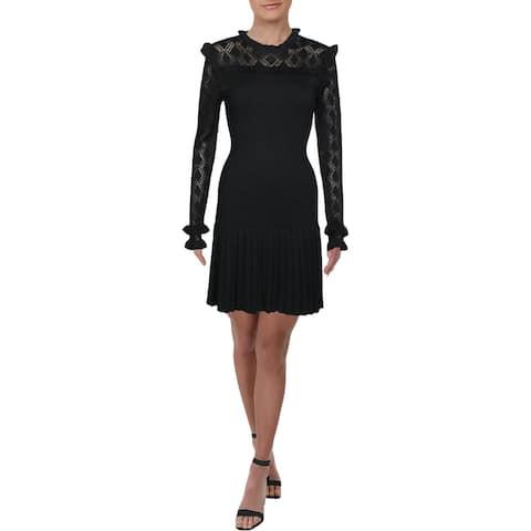Shoshanna Womens Sweaterdress Ruffled Open Stitch - Black