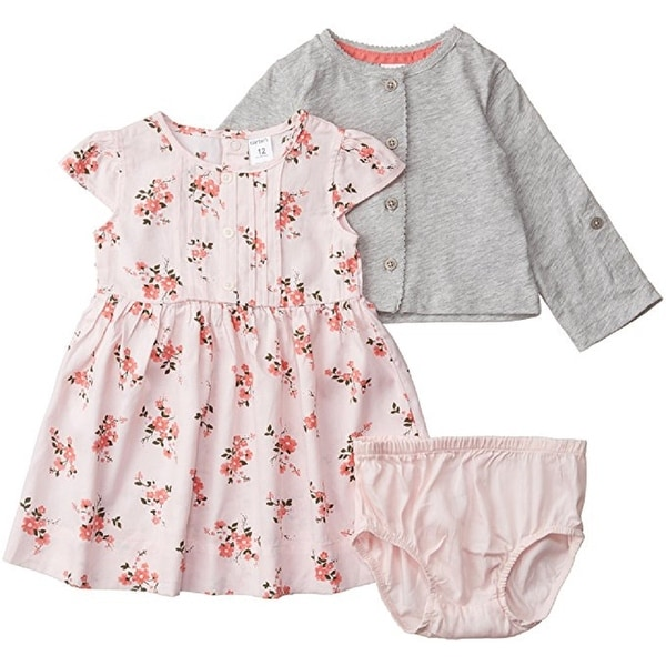 6272dc1095b58 Shop Carter's Baby Girls' 3-Piece Sateen Dress & Cardigan Set - Free  Shipping On Orders Over $45 - Overstock - 17906074