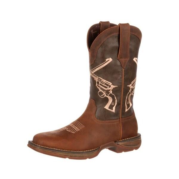 Durango Western Boots Mens Rebel Crossed Guns Square Toe Brown