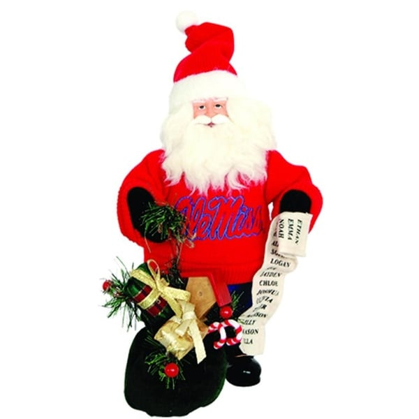 """10"""" NCAA Ole Miss Rebels Gift Bearing Santa Claus Christmas Table Top Figure - Red"""