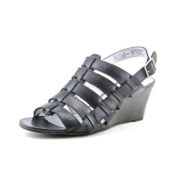 White Mountain Corkscrew Women Open Toe Leather Black Wedge Sandal