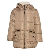 Urban Republic Girls Khaki Zipper Closure Hooded Puffer Jacket