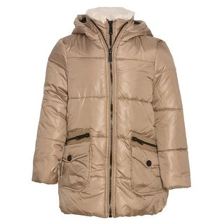 Urban Republic Girls Khaki Zipper Closure Hooded Puffer Jacket