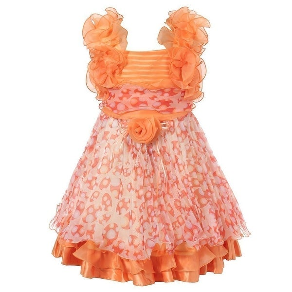 fb7f49d24b6a Shop Richie House Little Girls Orange Patterned Flower Ruffle Chiffon Dress  2-6 - Free Shipping On Orders Over $45 - Overstock - 18170390