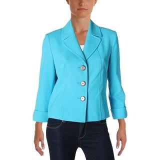Tahari ASL Womens Petites Three-Button Blazer Crepe Cuff Sleeves