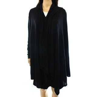 INC NEW Black Women's Size Medium M Long Draped Open Front Cardigan