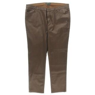 LRL Lauren Jeans Co. Womens Plus Casual Pants Denim Coated - 20W