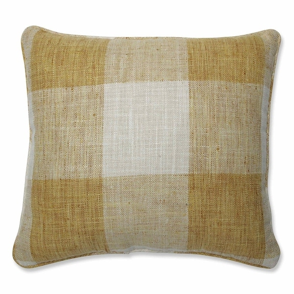 """16.5"""" Yellow and White Plaid Pattern Indoor Square Throw Pillow with Coordinating Trim"""