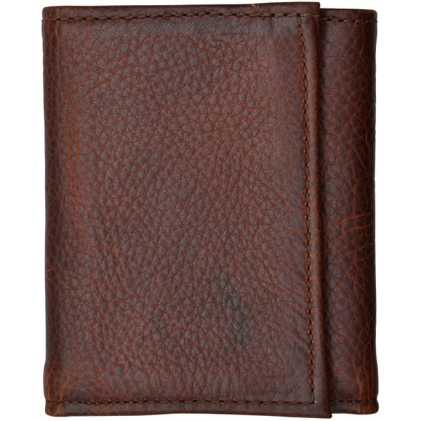 3D Western Wallet Mens Leather Trifold Pebble Dark Brown - One size