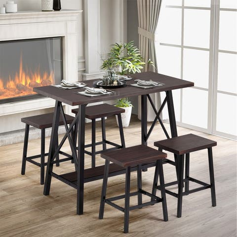 5-Piece Bar Table Set, Counter Height Bar Table with 4 Bar Stools