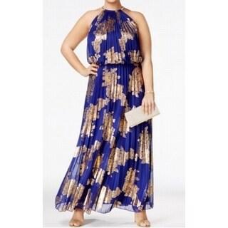 MSK Women Plus Pleated Foil Halter Blouson Maxi Dress