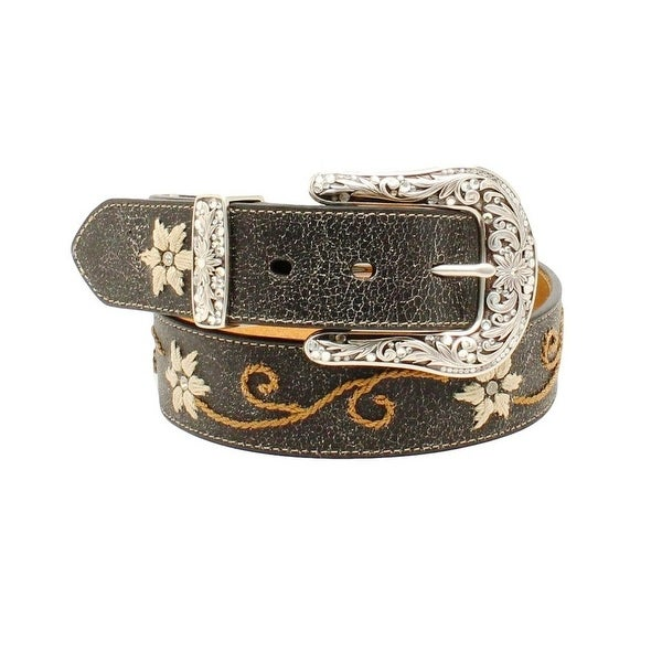 Nocona Western Belt Womens Floral Scroll Embroidered Black