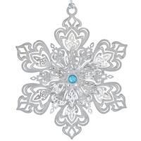 "3.25"" Silver Ornate Jeweled Christmas Snowflake Ornament"