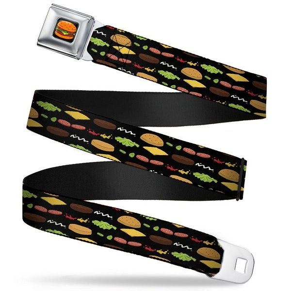 Hamburger Full Color Black Bob's Burgers Burger Elements Black Webbing Seatbelt Belt