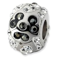 Sterling Silver Reflections White & Black Crystal Flower Bead