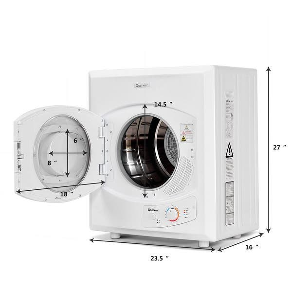 Costway Electric Tumble Compact Laundry Dryer Stainless Steel Wall Mounted 2 65 Cu Ft Overstock 24244990