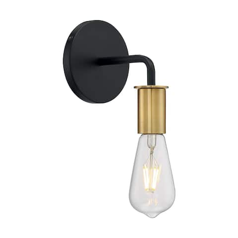 Ryder - 1 Light Sconce with- Black and Brushed Brass Finish