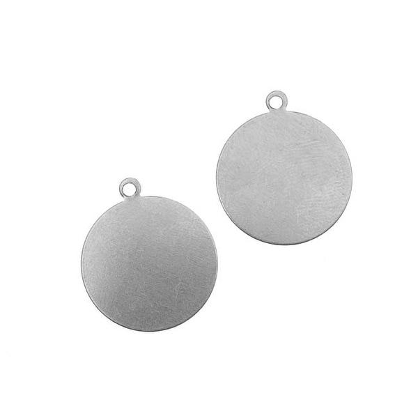 Silver Color Nickel Alloy Round Pendant Blanks 19mm Diameter 24 Gauge (2)