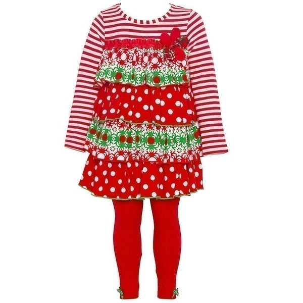 Bonnie Jean Baby Girls Red White Stripe Dotted Tiered Tunic Legging Set