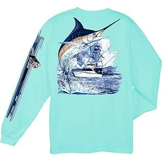 Guy Harvey Marlin Boat Yellow Ls 2Xlarge