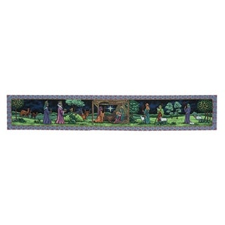 """72"""" Beautifully Ornate First Christmas  Tapestry Style Nativity Table Runner"""
