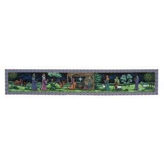 """72"""" Beautifully Ornate First Christmas Tapestry Style Nativity Table Runner - Blue"""