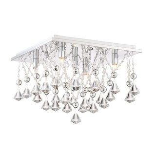 "Platinum PCCD1615 Crystal Drape 5 Light 15"" Wide Flush Mount Ceiling Fixture"