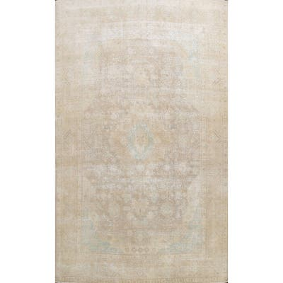 """Muted Distressed Tabriz Persian Area Rug Wool Hand-knotted Carpet - 9'10"""" x 13'0"""""""