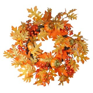 Fall Leaves, Pumpkins and Berries Artificial Thanksgiving Wreath - 19-Inch, Unlit - Orange