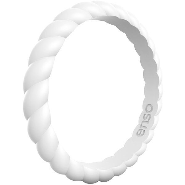 Enso Rings Braided Stackables Series Silicone Ring - White. Opens flyout.