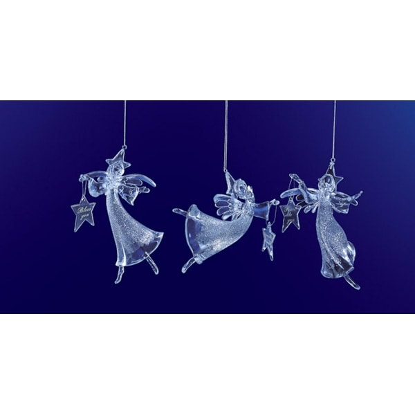 """Club Pack of 12 Icy Crystal Christmas Glitter Angel Ornaments 6"""" - CLEAR"""