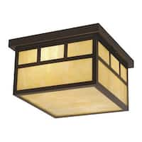 Vaxcel Lighting OF37211 Mission 2 Light Flush Mount Outdoor Ceiling Fixture with Cream Frosted Glass Shade - 11.5 Inches Wide